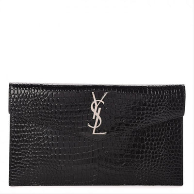 Saint Laurent Crocodile Embossed Uptown Monogram Black Calfskin Leather Clutch