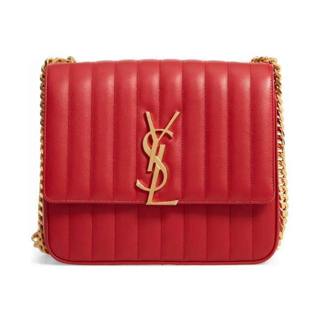 Saint Laurent Crossbody Vicky Large Red Leather Shoulder Bag