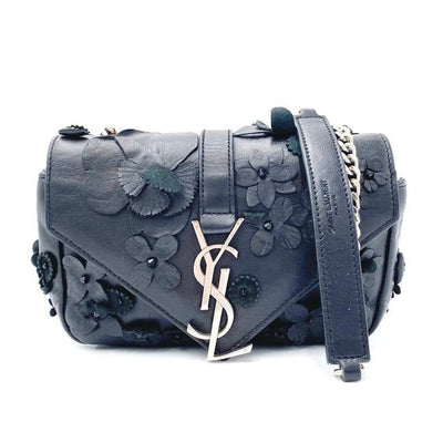 Saint Laurent Envelope Floral Embellished Baby Monogram Black Leather Shoulder Bag