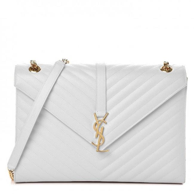 Saint Laurent Envelope Grain De Poudre Matelasse Chevron Large Monogram Satchel White Leather Shoulder Bag