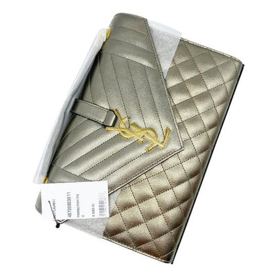 Saint Laurent Envelope Medium Monogramme Quilted Silver Leather Shoulder Bag