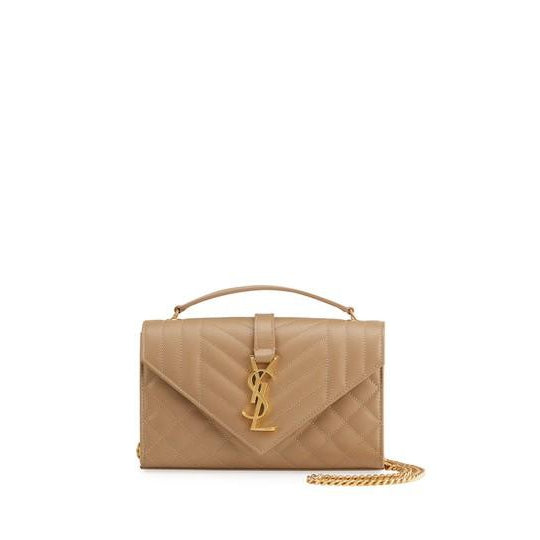 Saint Laurent Envelope Small Ysl Monogram Satchel Triquilt Beige Leather Shoulder Bag