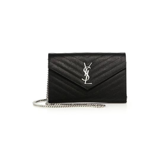 Saint Laurent Large Monogram Chain Envelope Black Leather Cross Body Bag