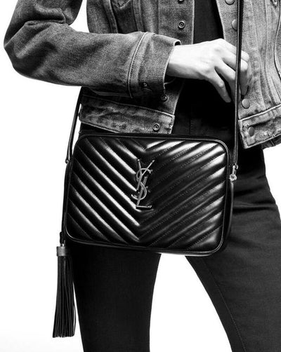 Saint Laurent Lou Monogram Camera Medium Quilted Black Leather Shoulder Bag