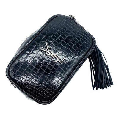 Saint Laurent Lou Ysl Monogram Camera Mini In Croc-embossed Black Leather Cross Body Bag
