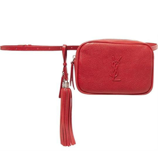 Saint Laurent Loulou Belt Lou Monogram Textured Embossed Red Leather Cross Body Bag