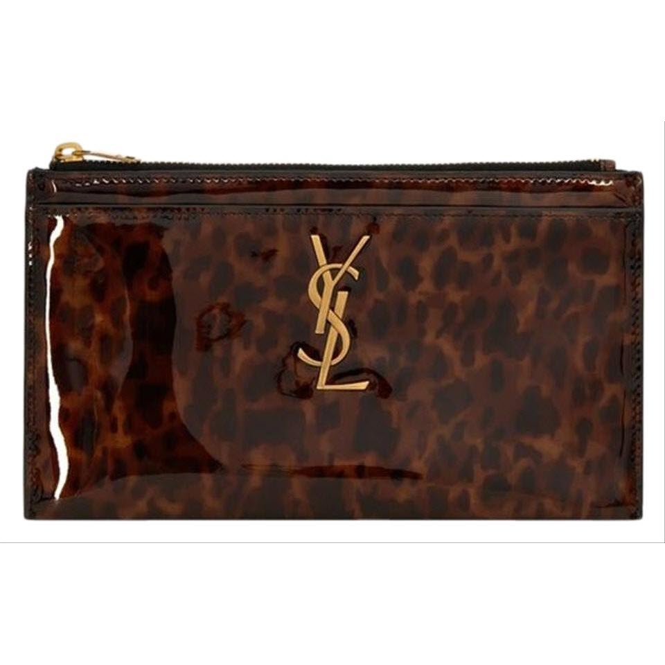 Saint Laurent Monogram Bill Pouch In Tortoiseshell Brown Patent Leather Clutch