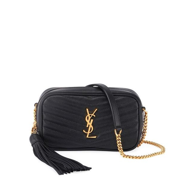 Saint Laurent Monogram Camera Lou Mini Black Leather Cross Body Bag