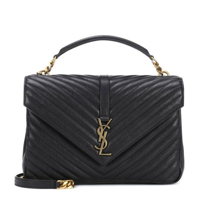 Saint Laurent Monogram Collège Large Black Leather Shoulder Bag