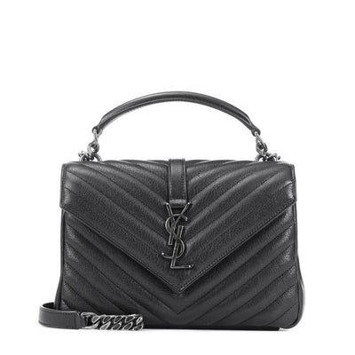 Saint Laurent Monogram Collège Medium Black Leather Shoulder Bag