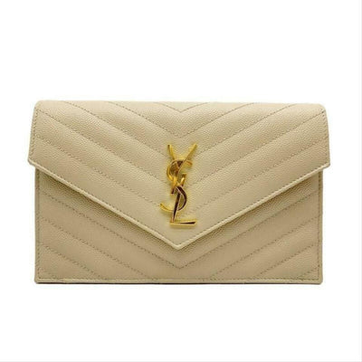 Saint Laurent Monogram Envelope Chain Wallet Small Poudre Beige Leather Cross Body Bag