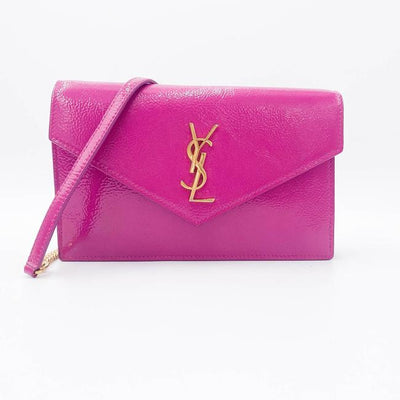 Saint Laurent Monogram Envelope Chain Wallet Textured Electric Pink Patent Leather Cross Body Bag