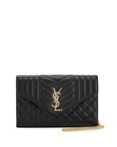 Saint Laurent Monogram Envelope Chain Wallet Tri-quilt Black Leather Cross Body Bag