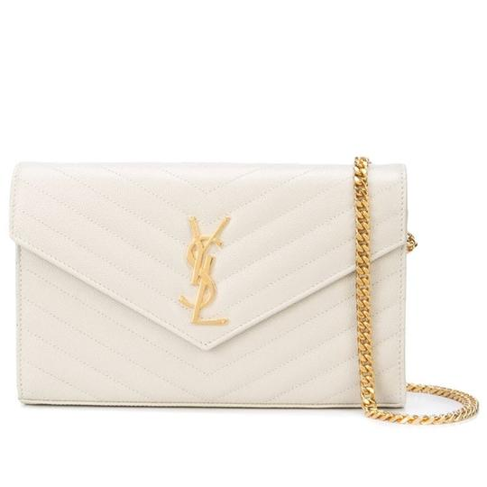 Saint Laurent Monogram Envelope Chain Wallet Woc White Leather Cross Body Bag