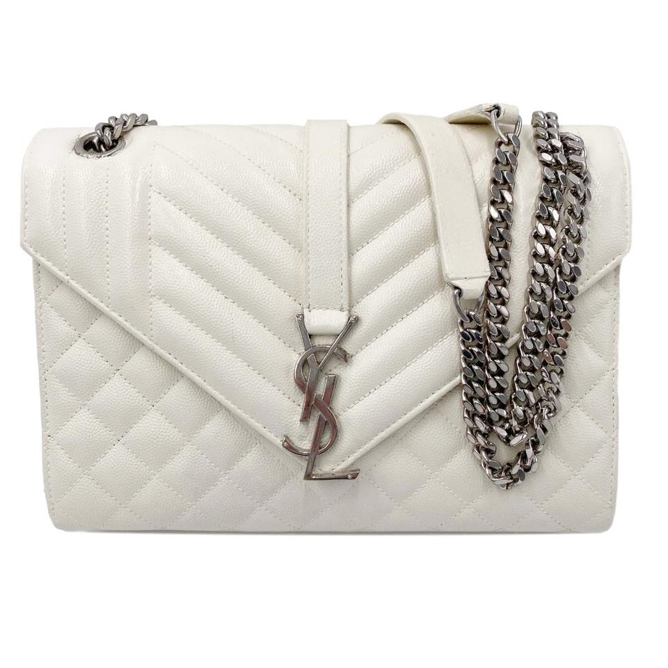 Saint Laurent Monogram Envelope Grain De Poudre Textured Mixed Matelasse Medium Triquilt Mono White Leather Shoulder Bag