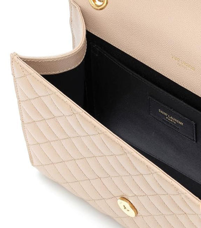Saint Laurent Monogram Envelope Medium Tri-quilted Matelasse Grain De Poudre Beige Leather Shoulder Bag
