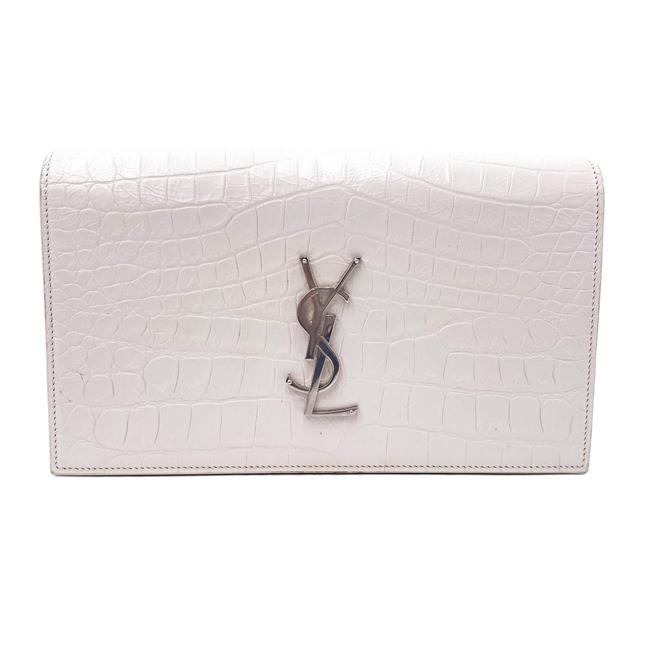 Saint Laurent Monogram Kate Calfskin Crocodile Embossed White Leather Clutch
