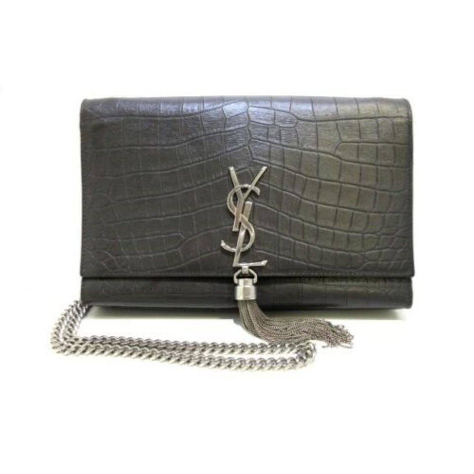 Saint Laurent Monogram Kate Calfskin Crocodile Embossed Medium Classic Tassel Grey Leather Shoulder Bag