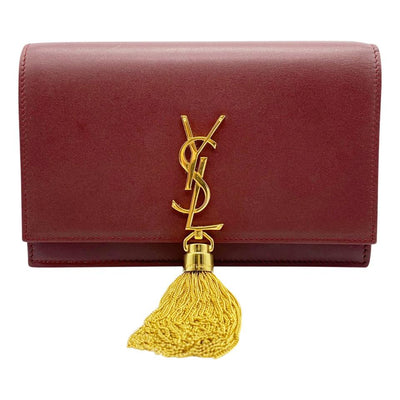 Saint Laurent Monogram Kate Chain Wallet Tassel Plum Red Calfskin Leather