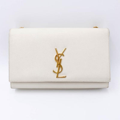 Saint Laurent Monogram Kate Crossbody Medium Chain Detail White Leather Shoulder Bag
