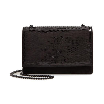 Saint Laurent Monogram Kate Crossbody Paillette Embellished Black Suede Leather Shoulder Bag