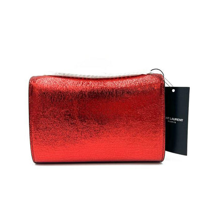 Saint Laurent Monogram Kate Crossbody Small Metallic Red Leather Shoulder Bag