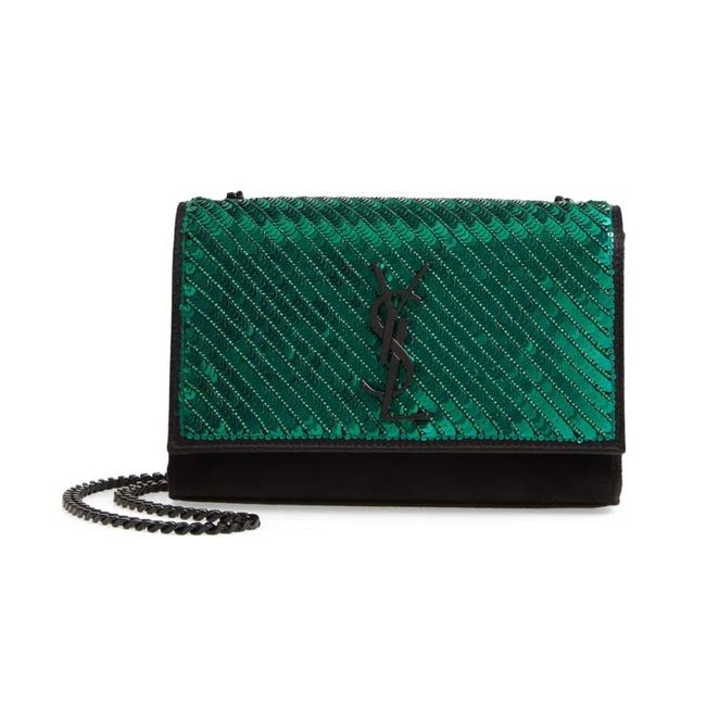 Saint Laurent Monogram Kate Crossbody Small Sequin Black Suede Leather Shoulder Bag