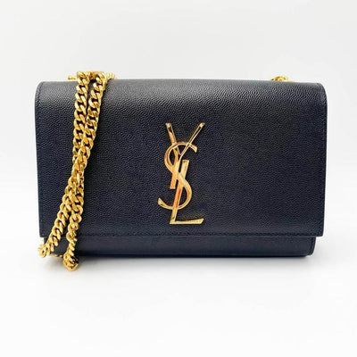 Saint Laurent Monogram Kate Ghw Grain De Poudre Small Satchel Black Leather Shoulder Bag