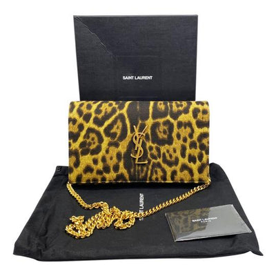 Saint Laurent Monogram Kate Leopard Print Wallet On A Chain Brown Leather Cross Body Bag