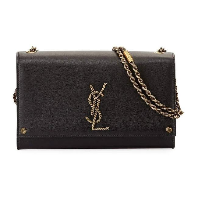 Saint Laurent Monogram Kate Medium Rope Effect Black Leather Shoulder Bag
