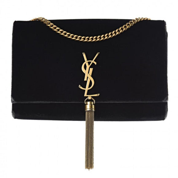 Saint Laurent Monogram Kate Medium Tassel Monogram Chain Black Velvet Cross Body Bag