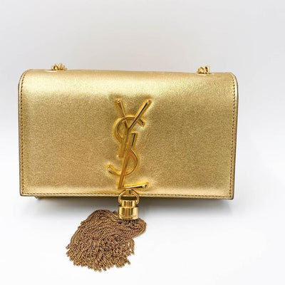 Saint Laurent Monogram Kate Metallic Calfskin Small Classic Tassel Satchel Gold Leather Shoulder Bag