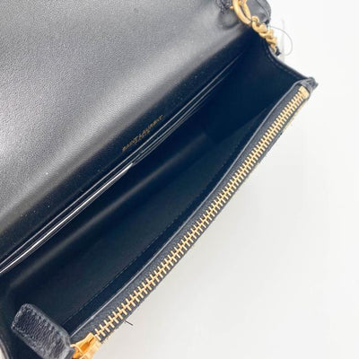 Saint Laurent Monogram Kate Metallic Stripe Wallet On A Chain Woc Black and Gold Leather Shoulder Bag