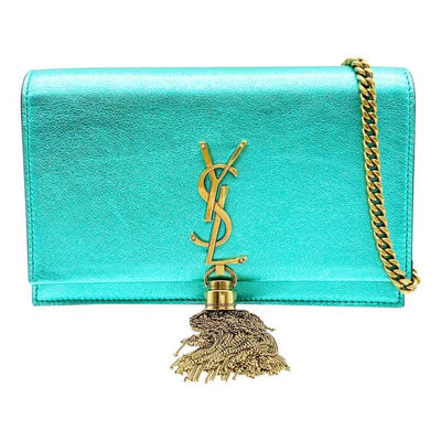 Saint Laurent Monogram Kate Monogram Tassel Metallic Chlorophylle Green Leather Cross Body Bag