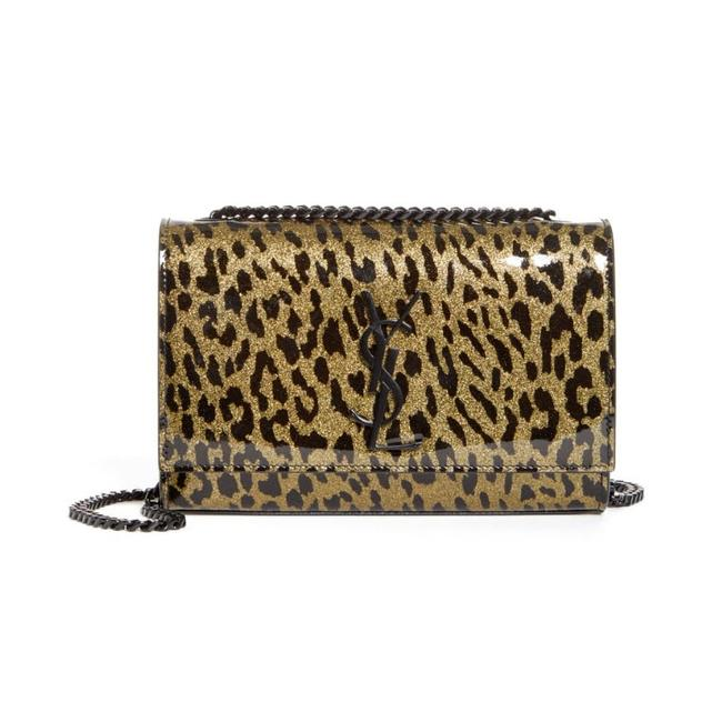 Saint Laurent Monogram Kate Shoulder Glitter Leopard Black Patent Leather Cross Body Bag