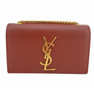 Saint Laurent Monogram Kate Small Burgundy Red Leather Cross Body Bag