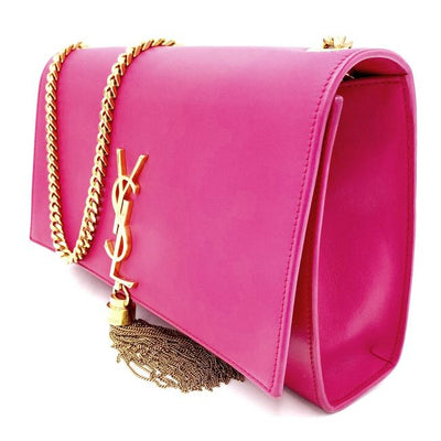 Saint Laurent Monogram Kate Smooth Calfskin Medium Classic Tassel Satchel Pink Leather Shoulder Bag