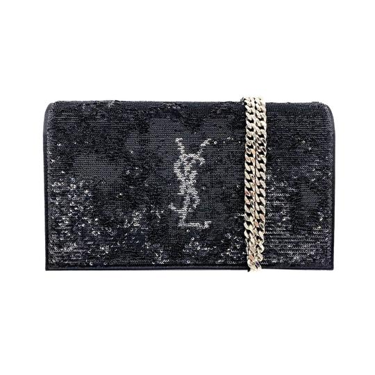 Saint Laurent Monogram Kate Chain Wallet Sequin Flip Monogram Black Satin Cross Body Bag