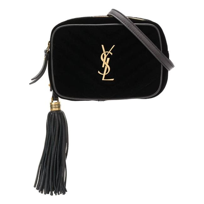Saint Laurent Monogram Lou Camera Belt Quilted Leather Black Velvet Cross Body Bag