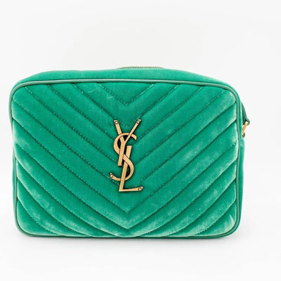 Saint Laurent Monogram Lou Camera Matelasse Deep Malachite Green Velvet Shoulder Bag