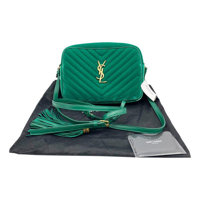 Saint Laurent Monogram Lou Camera Shoulder Quilted Green Velvet Cross Body Bag