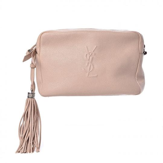 Saint Laurent Monogram Lou Camera Tassels Marble Pink Leather Cross Body Bag