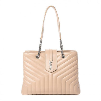 Saint Laurent Monogram Loulou Calfskin Matelasse Large Monogram Shopper Nude Powder Beige Leather Tote