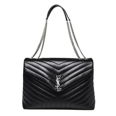 Saint Laurent Monogram Loulou Calfskin Y Quilted Monogram Large Chain Satchel Black Leather Shoulder Bag