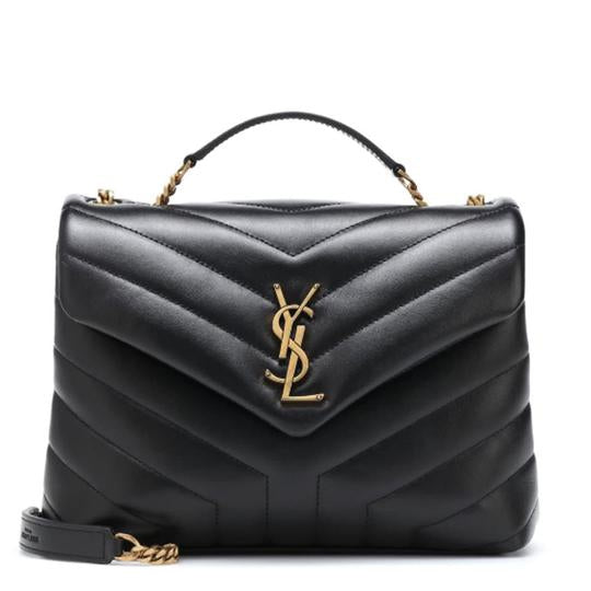 Saint Laurent Monogram Loulou Calfskin Y Quilted Monogram Small Chain Satchel Black Leather Shoulder Bag