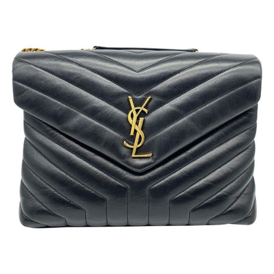 Saint Laurent Monogram Loulou Matelasse Medium Monogram Chain Satchel Black Calfskin Leather Shoulder Bag