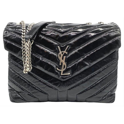 Saint Laurent Monogram Loulou Medium Black Patent Leather Shoulder Bag
