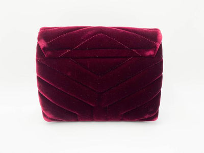 Saint Laurent Monogram Loulou Y Quilted Toy Chain Satchel French Burgundy Red Velvet Shoulder Bag