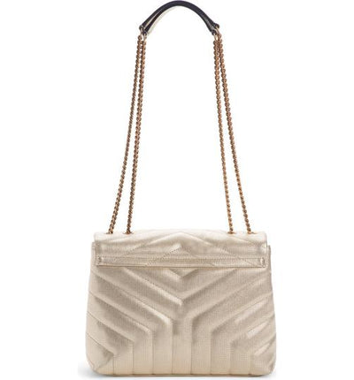 Saint Laurent Monogram Loulou Small Embossed Metallic Gold Leather Shoulder Bag