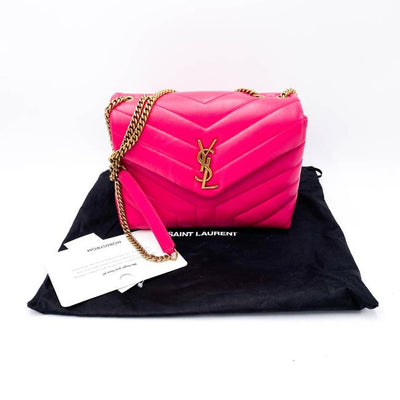 Saint Laurent Monogram Loulou Small Pink Leather Shoulder Bag